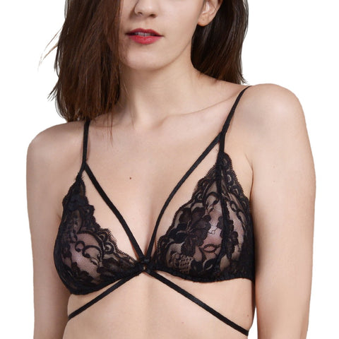 Wink Gal Women's Cross Front Sheer Lace Bralette