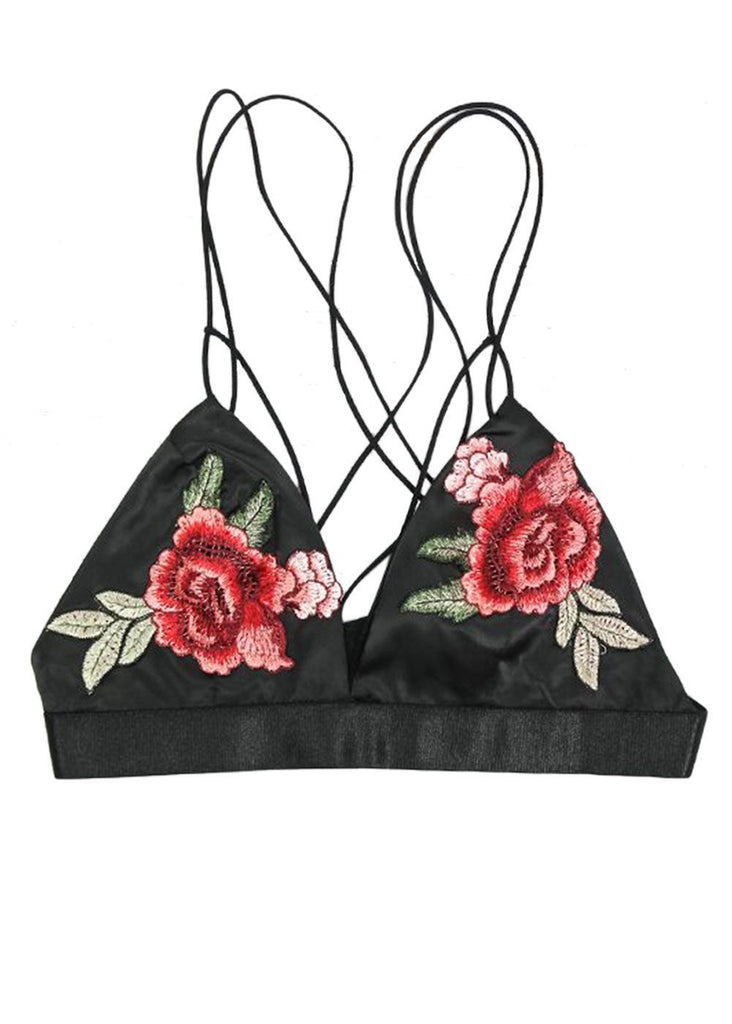 Wink Gal Women's Embroidered Floral Printed Strappy Bralette