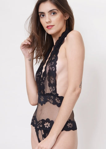Wink Gal Backless Sheer Lace Bodysuit
