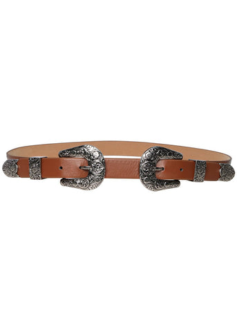 Wink Gal Women's Boho Coachella Metal Western Double Buckle Belt
