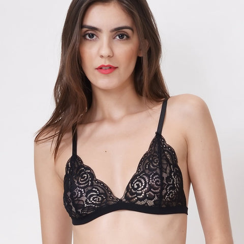 Women's Triangle Wire Free V-neck Floral Lace Bralette