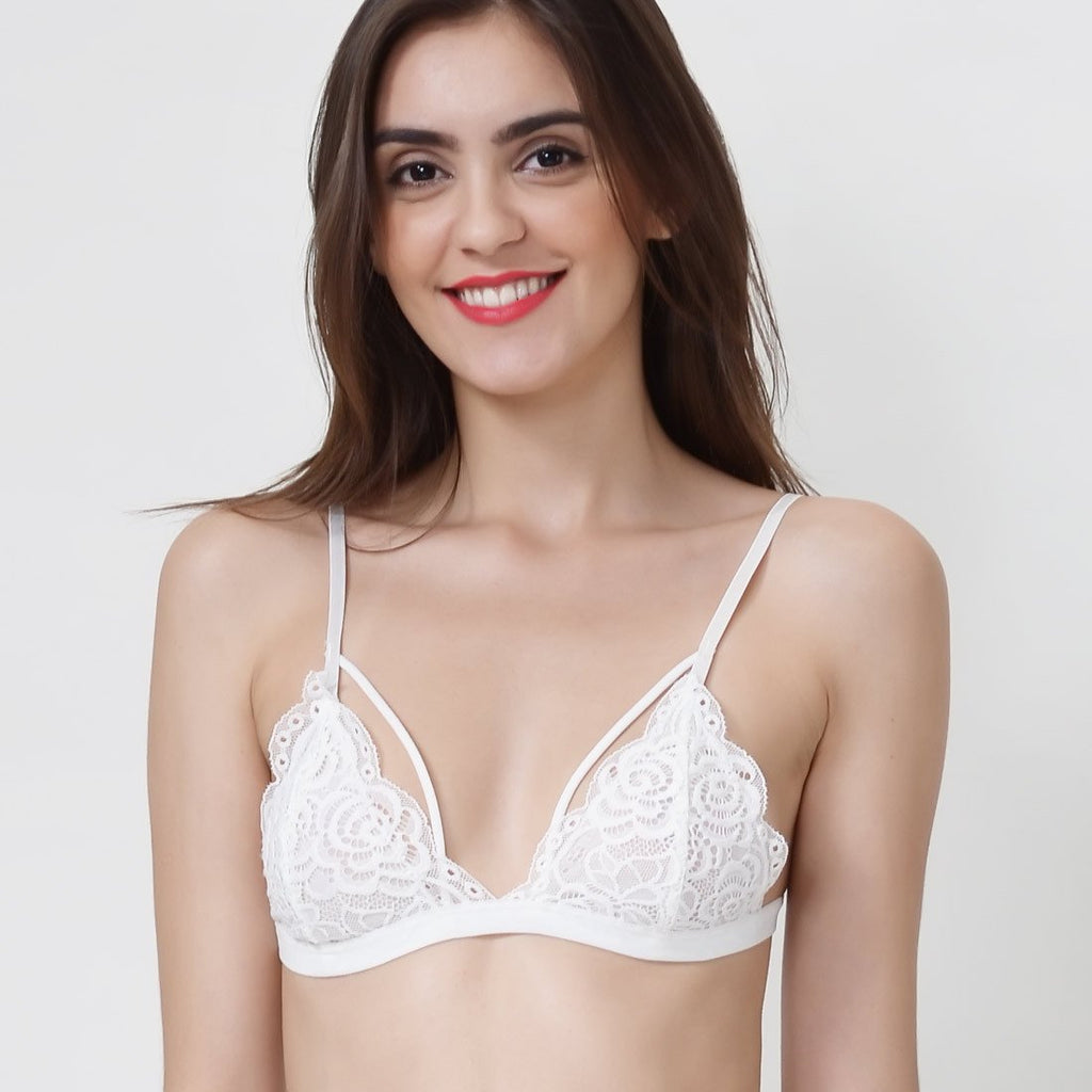 Wink Gal Women's Scalloped 3/4 Cups Strappy Lace Bralette