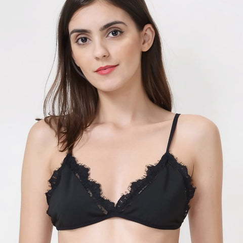 Wink Gal Women's Sexy V-neck Lace Black Bralette Tops Everyday Wear ¡­