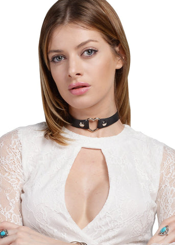 Wink Gal Women's Vintage Coachella Goth Punk Emo Heart Pu Leather Choker Necklace