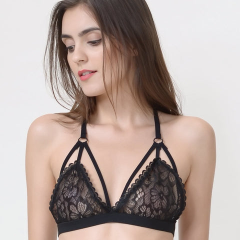 Wink Gal Women's Strappy Criss Cross Lace Bralette