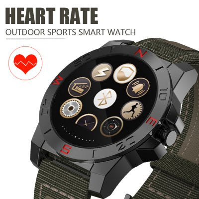 N10B Smart Outdoor Sport Watch - CANVAS + GENUINE LEATHER BAND BLACK-Geeks Buy Gadgets
