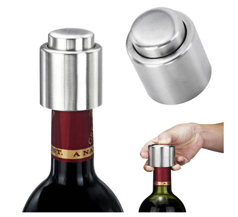 Stainless Steel Vacuum Sealed Red Wine Bottle Stopper-Geeks Buy Gadgets