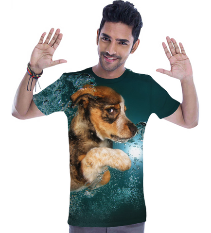 Swim Puppy All Over Print T Shirt (Mens)-Geeks Buy Gadgets