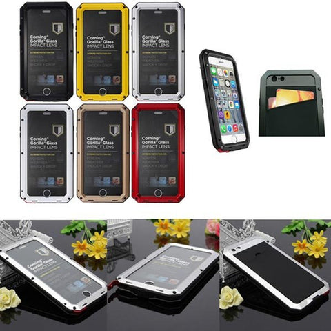 Aluminum Metal Gorilla Glass Shockproof Wallet Case For iPhone 6 Plus-Geeks Buy Gadgets