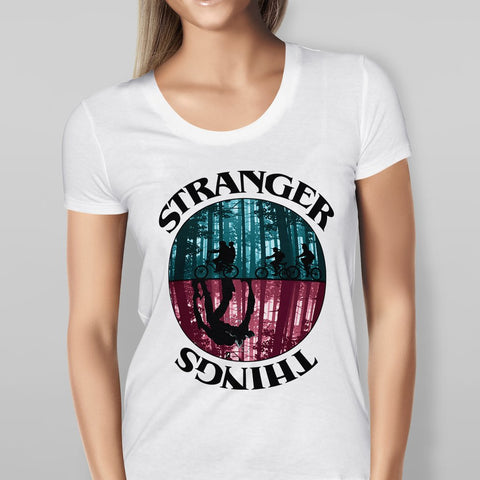 Womens Stranger Things White T-shirt-Geeks Buy Gadgets