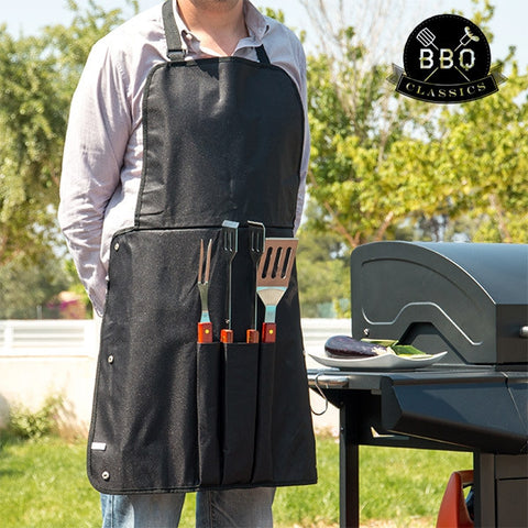 BBQ CLASSICS BARBECUE UTENSILS AND APRON-Geeks Buy Gadgets