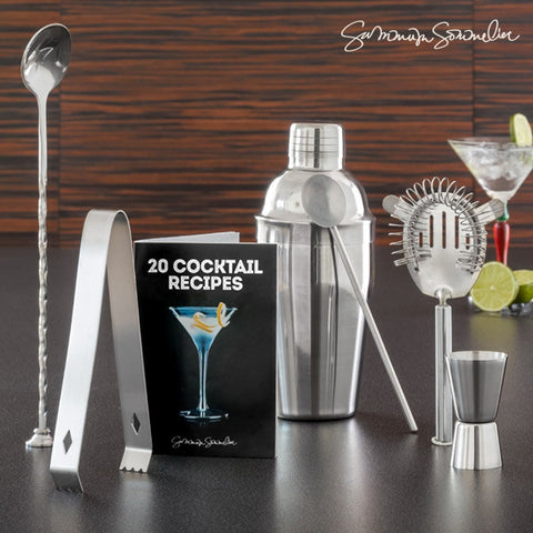 COCKTAIL SET WITH SUMMUM SOMMELIER RECIPE BOOK (6 PIECES)-Geeks Buy Gadgets