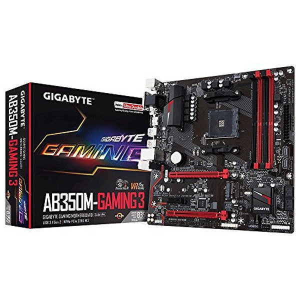 GAMING MOTHERBOARD GIGABYTE GA-AB350M GAMING 3 MATX AM4-Geeks Buy Gadgets