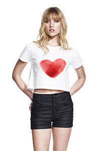 Heart Fingerprint Cropped T Shirt (Womens)-Geeks Buy Gadgets