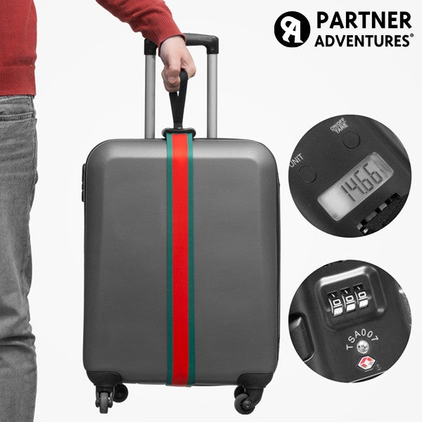 PARTNER ADVENTURES LUGGAGE STRAP WITH INTEGRATED WEIGHING SCALE AND SECURITY CODE-Geeks Buy Gadgets