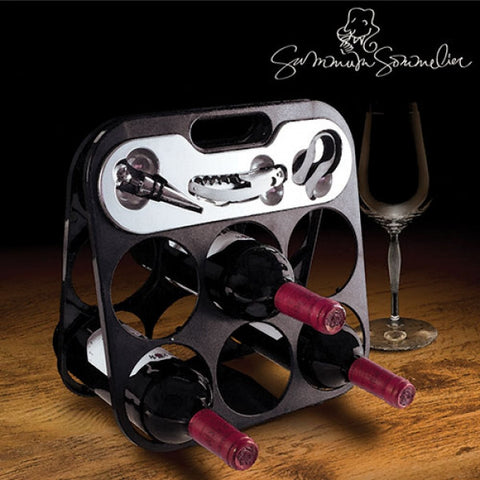 SUMMUM SOMMELIER BOTTLE RACK WITH WINE ACCESSORIES-Geeks Buy Gadgets