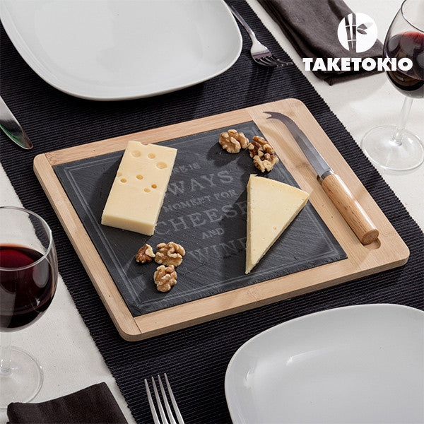 TakeTokio Bamboo Cheese Board with Slate (2 pieces)-Geeks Buy Gadgets