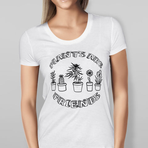 Plants are Friends - White T-shirt-Geeks Buy Gadgets