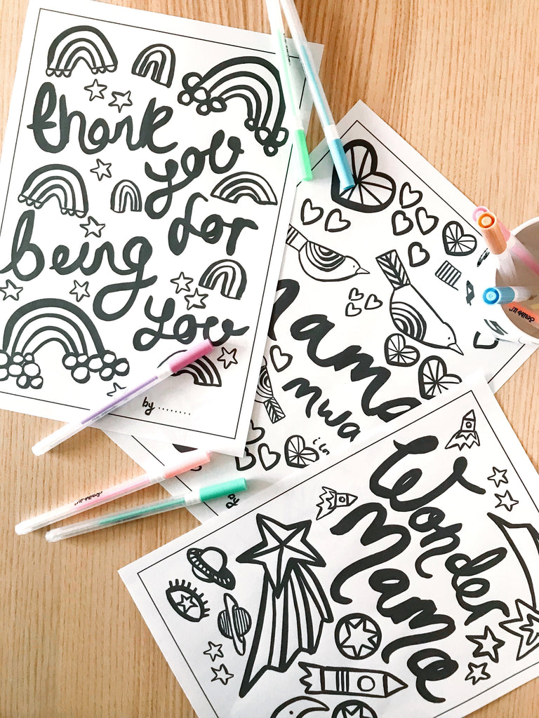 Mothers Day Colouring Sheet - Rainbows