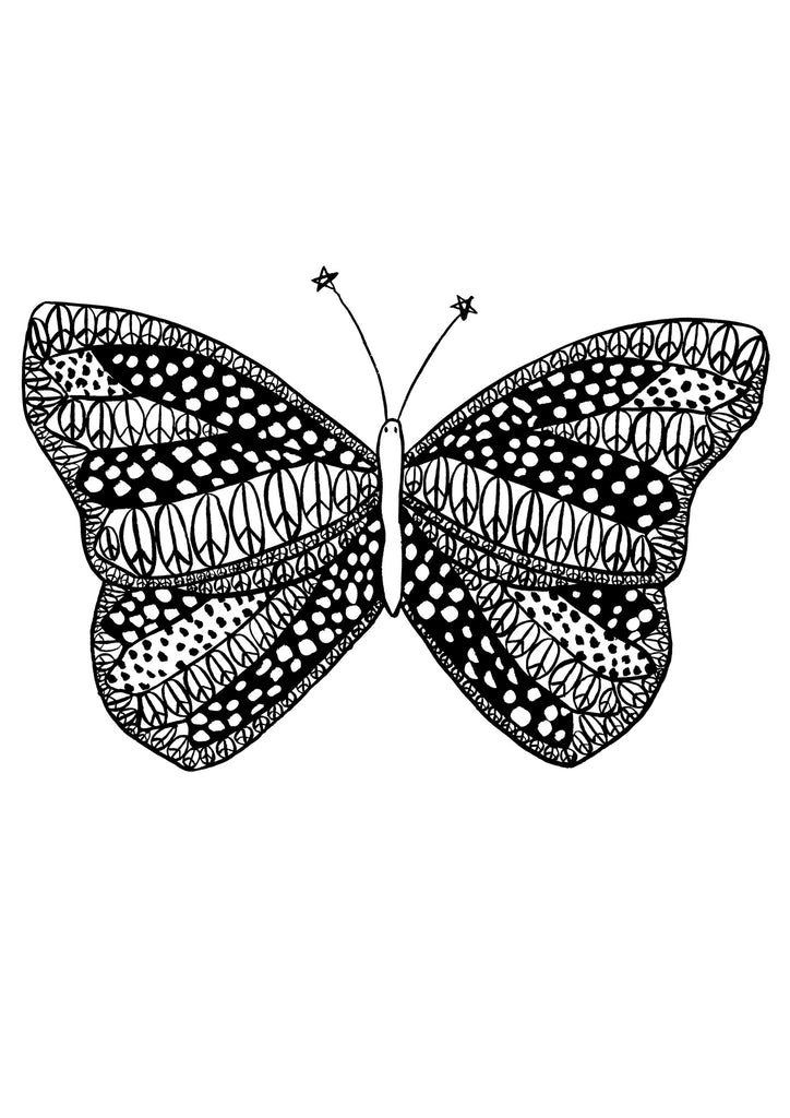 Monochrome Peace Butterfly Children's Print