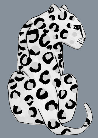 Leopard Blue Grey Children's Print