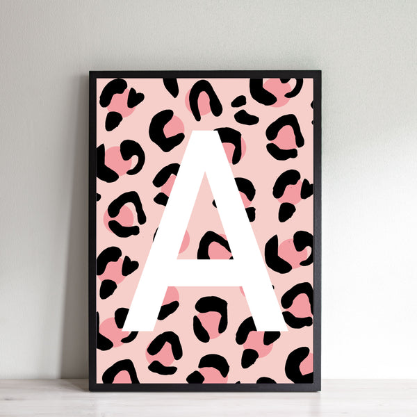 Leopard Personalised Initial - Pink