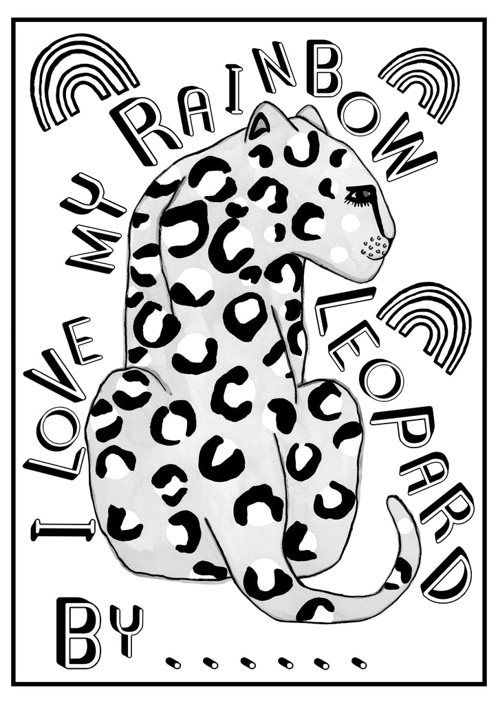 Rainbow Leopard Colouring Sheet