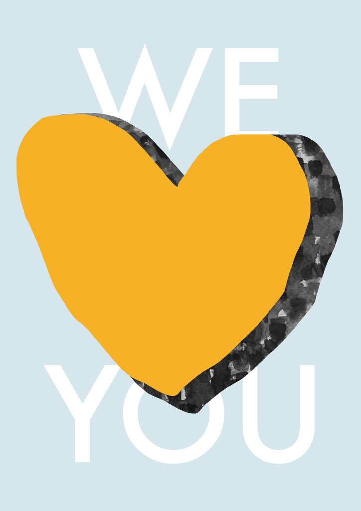 We Love You Blue Contemporary Print