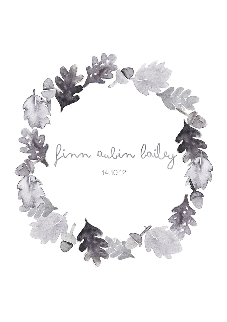 Personalised Acorn Wreath Print
