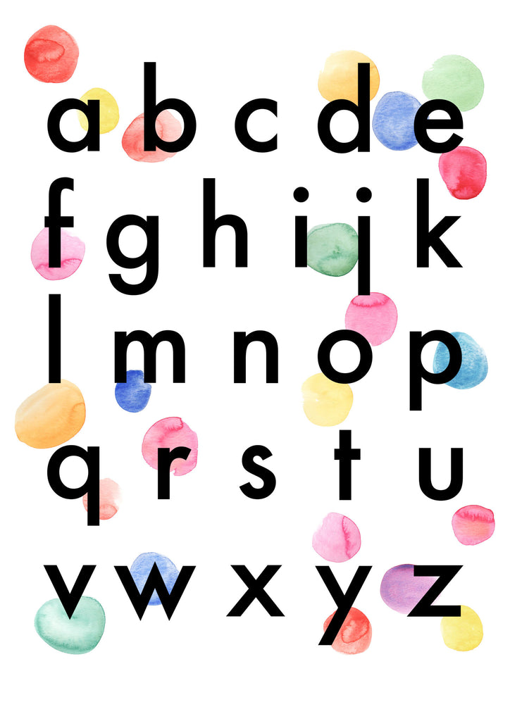 picture relating to Alphabets Chart Printable known as Confetti Alphabet Chart Childrens Print