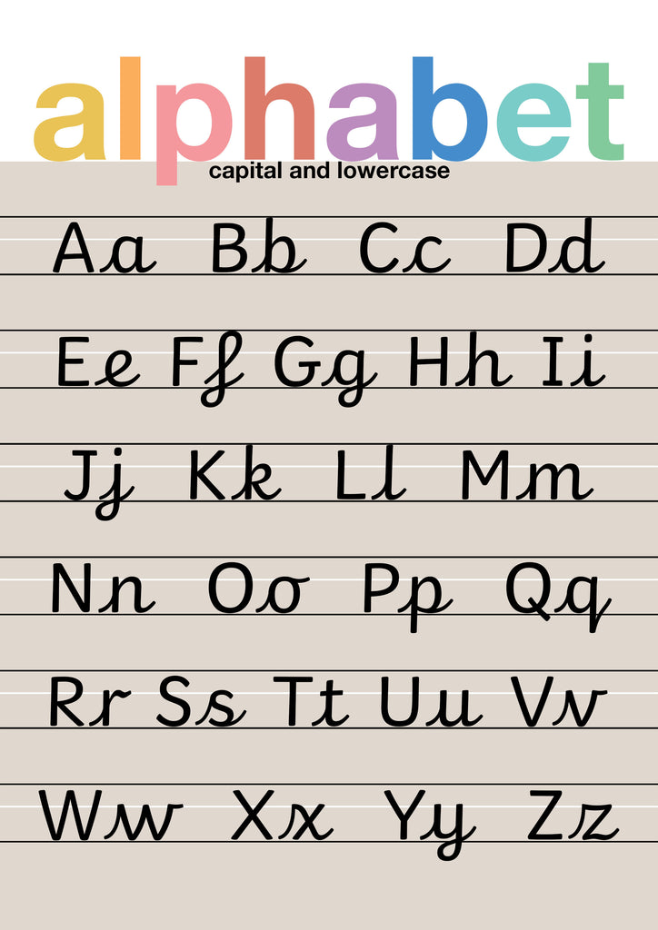 Cursive Alphabet Brights Children's Print