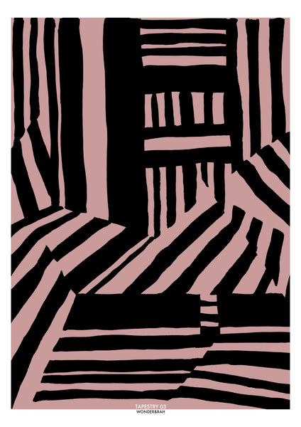 Tapestry 03 Abstract Print in Pink/Mono