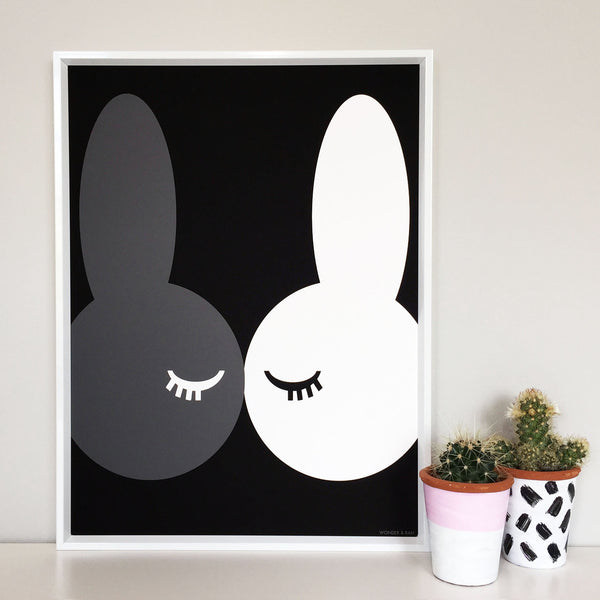Kissing Bunnies Black Children's Print
