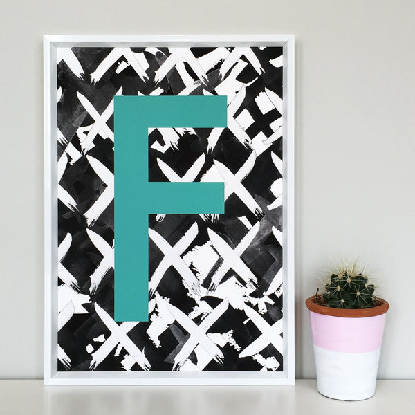 Criss Cross Personalised Initial Teal