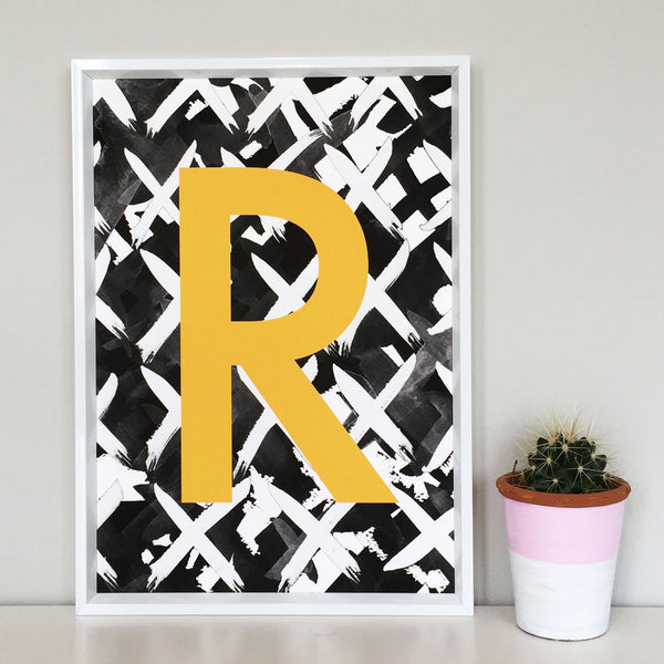 Criss Cross Personalised Initial Mustard