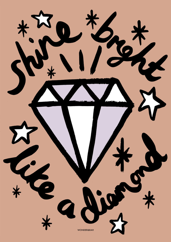 'Like A Diamond' in Pink Children's Print