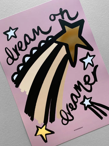 Gold Foil Dreamer Children's Print **limited stock