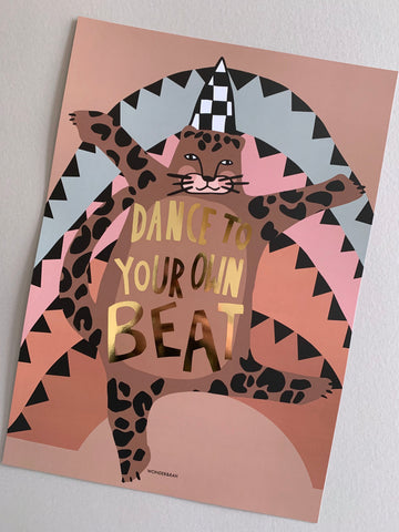 Gold Foil Dancing Leopard Children's Print