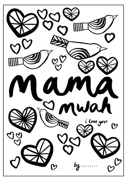 Mothers Day Colouring Sheet - Hearts