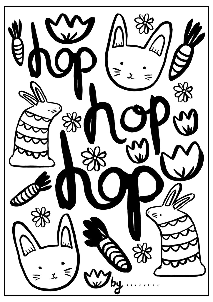 Easter Colouring Sheet - Hop Hop Hop