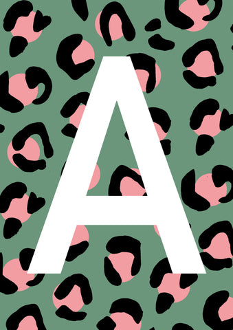 Leopard Personalised Initial - Green