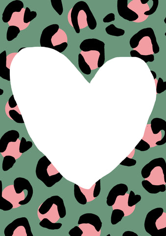 Leopard Love Green Contemporary Print