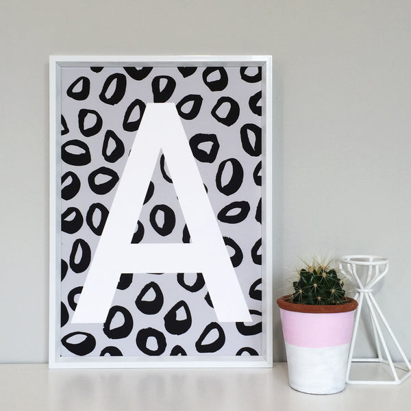 Mono Leopard Personalised Initial