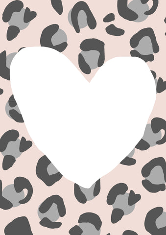 Leopard Love Blush-Grey Contemporary Print