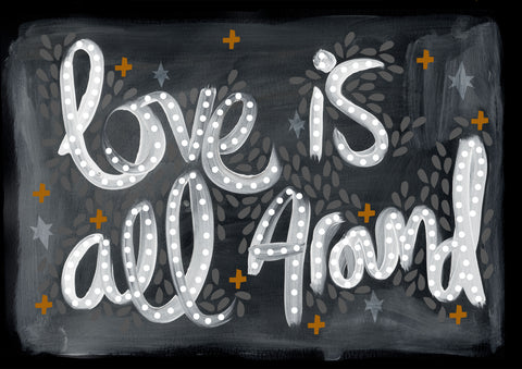 Love is all around blackboard Print