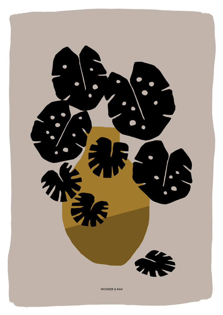 Monstera Gold Print
