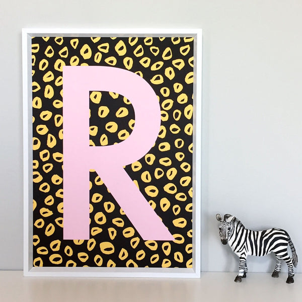 Mini Leopard Personalised Initial Pink