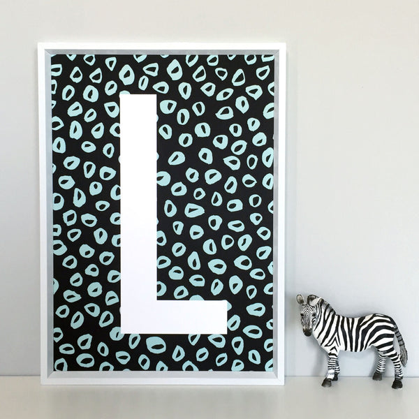 Mini Leopard Personalised Initial Mint