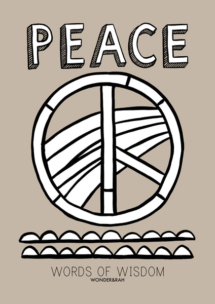PEACE in Bespoke Colour Children's Print