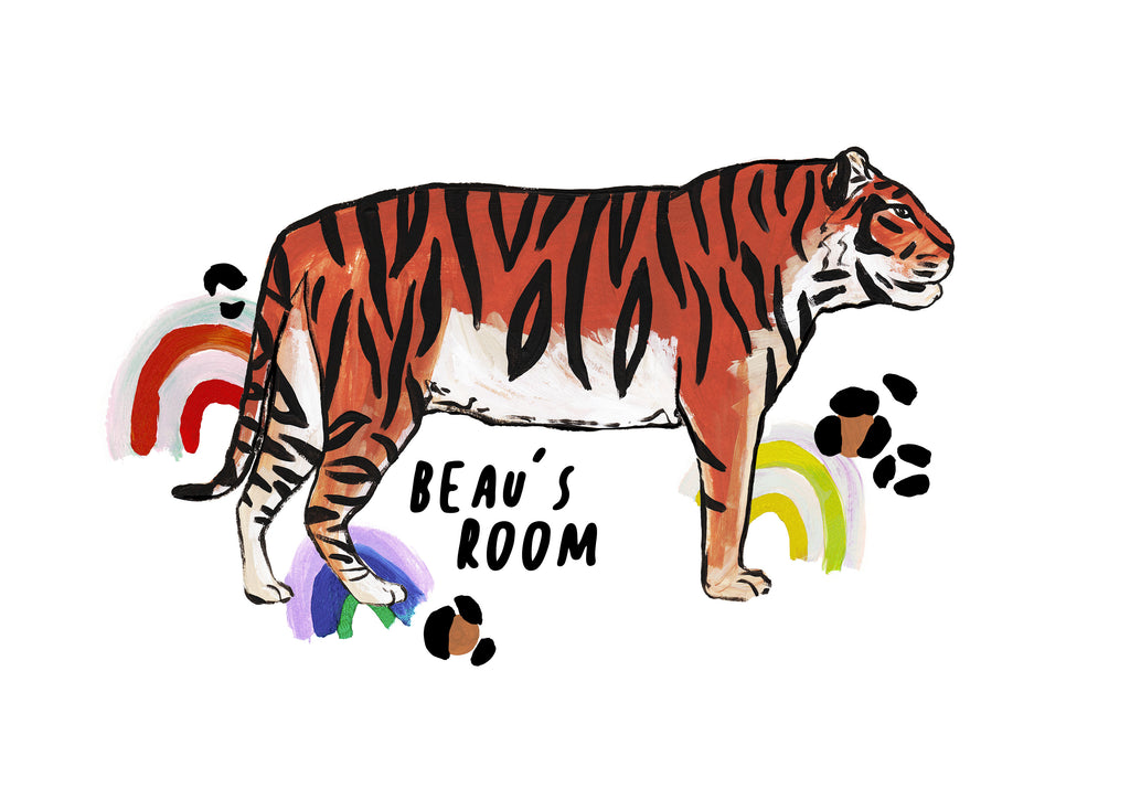 Personalised TIGER Rainbow Print